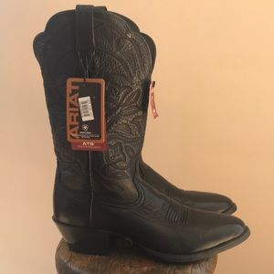 Women's Round Toe Leather Western Boots